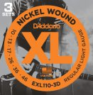 D'Addario - Nickel Wound EXL110-3D 3-Pack Regular Light 010-046