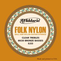 D'Addario - Folk Nylon 80/20 Bronze EJ33 Ball End Clear Klassisk/Spansk 028-045