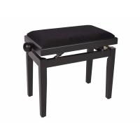 Boston Piano Bench Satin Black/Black Velvet Seat