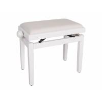 Boston Piano Bench Satin White/White Velvet Seat