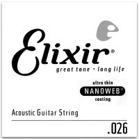 Elixir 15126 80/20 Bronze Single Acoustic Guitar Nanoweb 026